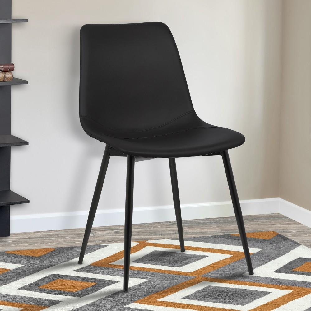 Contemporary   Leather   Powder   Monte   Metal   Chair   Black   Dine   Live   Coat   Faux   Leg
