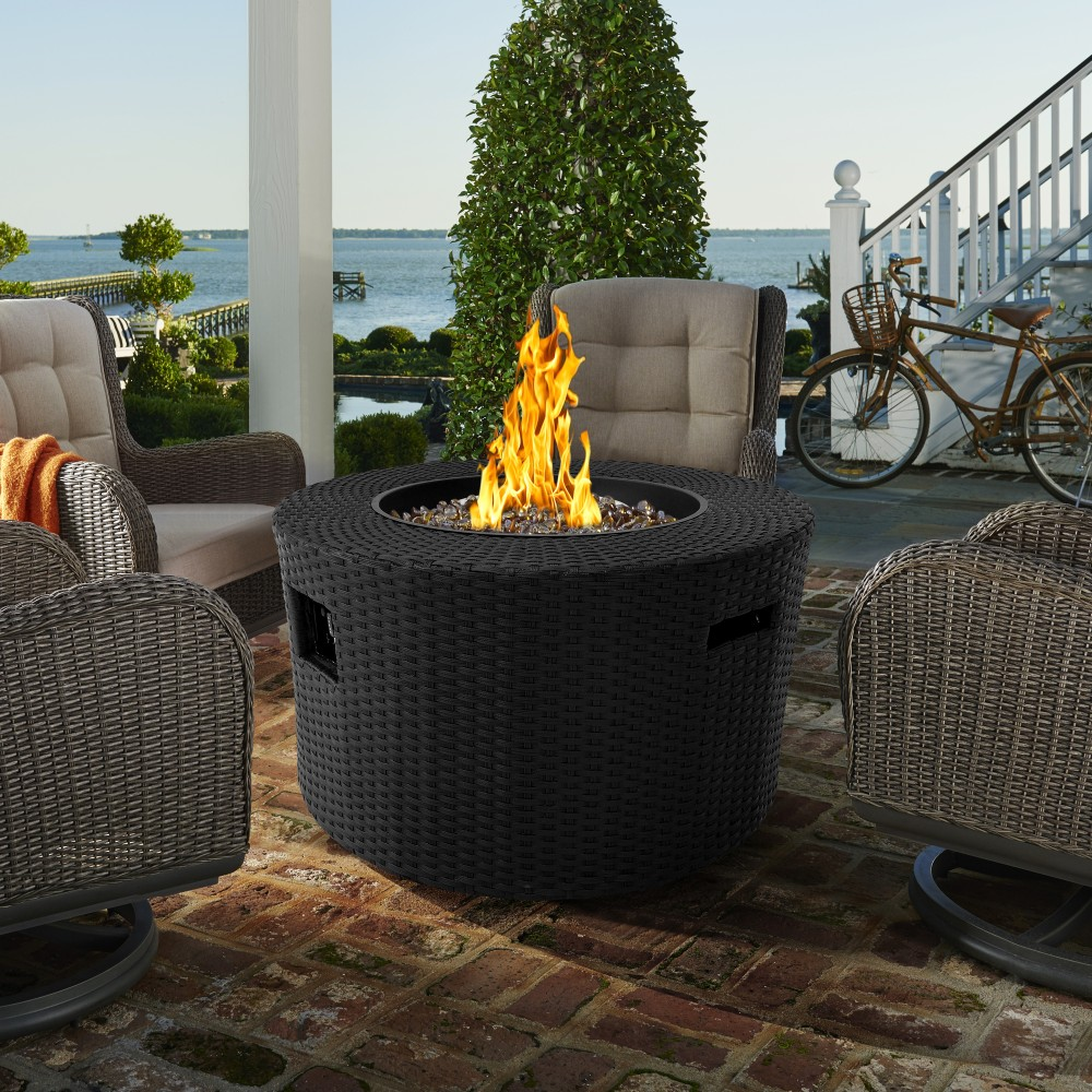Outdoor | Finish | Patio | Black | Fire | Moon | Live | Pit