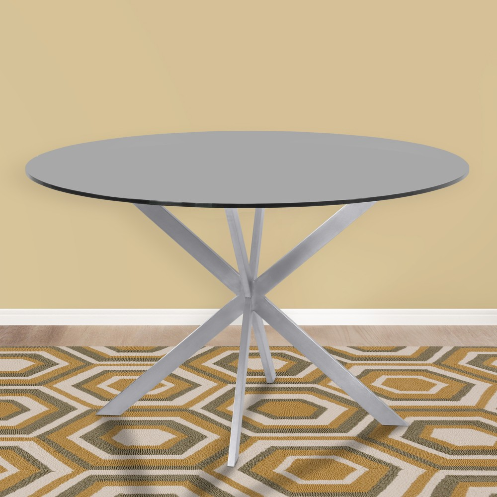 Armen Living Mystere Modern Dining Table Grey Powder Coated Finish