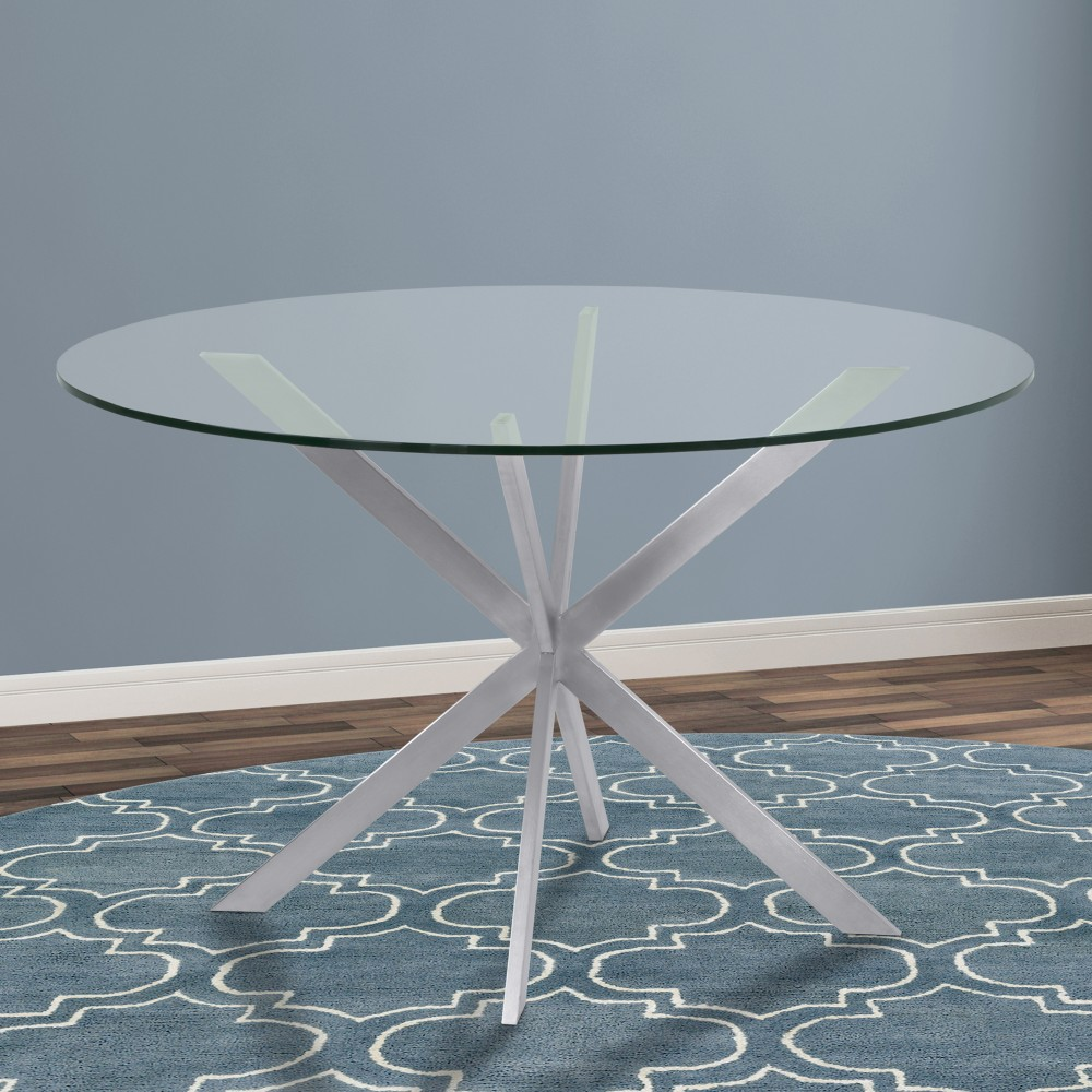 Armen Living Mystere Round Dining Table Brushed Stainless Steel
