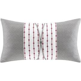N Natori Cherry Blossom 12x22'' Oblong Pillow in Grey - Olliix NS30-1827A