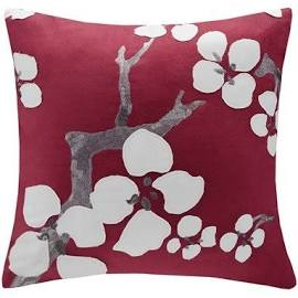 """N Natori Cherry Blossom 18x18"""" Square Pillow in Red - Olliix NS30-1826A"""