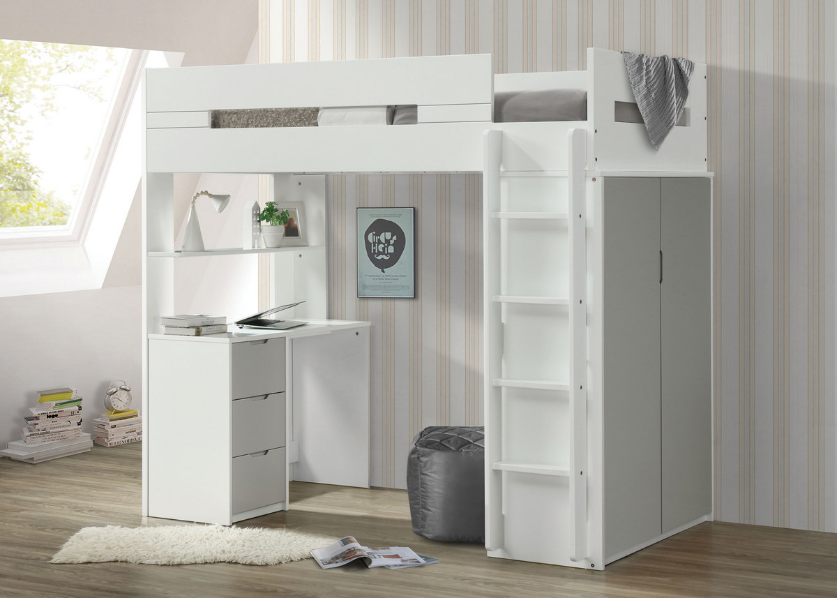 Acme Nerice Loft Bed White Gray