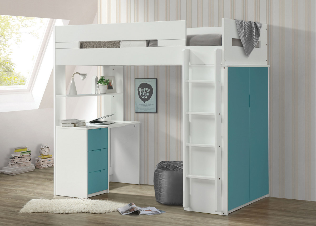 Acme Nerice Loft Bed White Teal