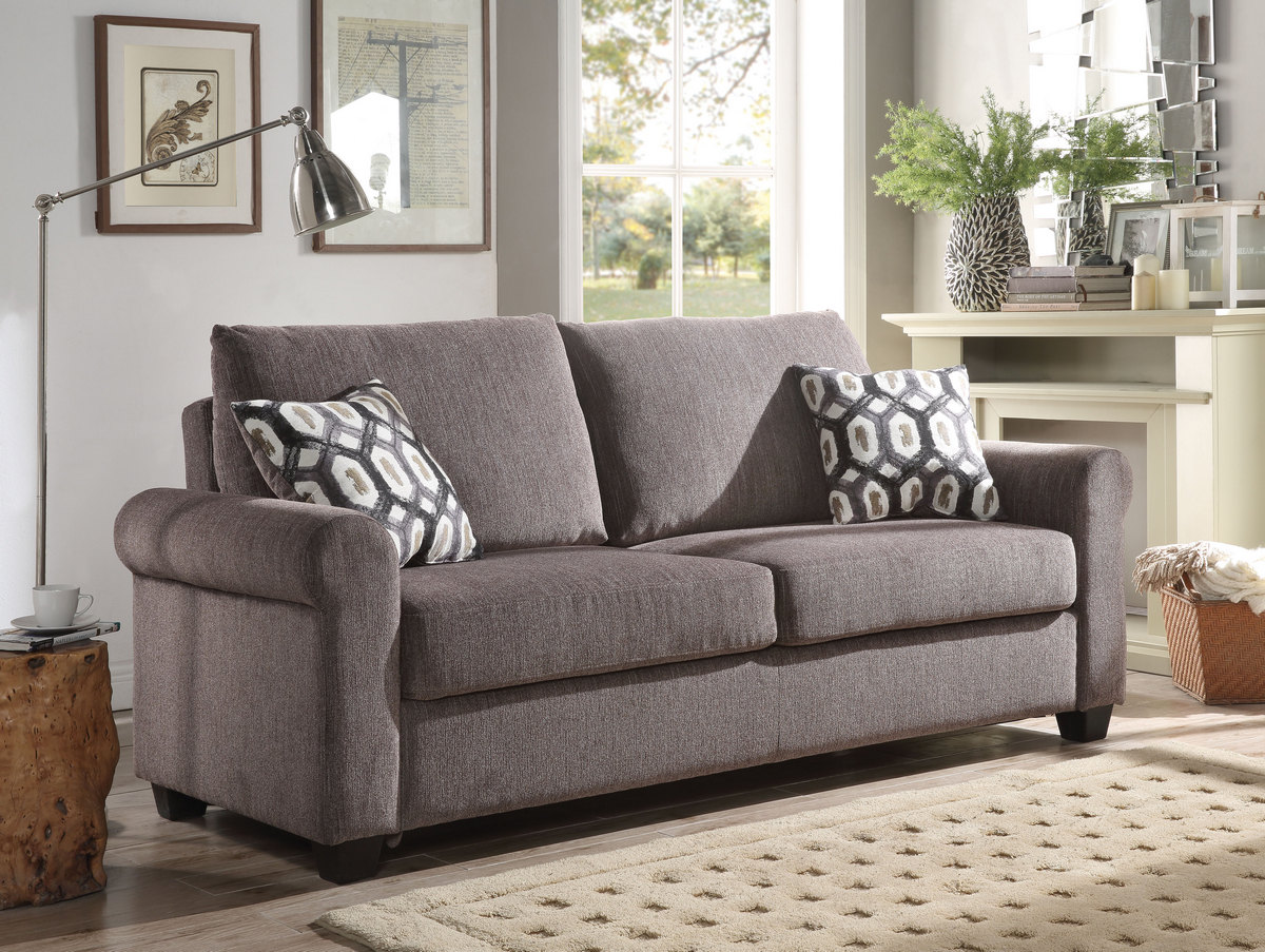 Acme Neveah Sofa Sleeper Pillows Gray Chenille