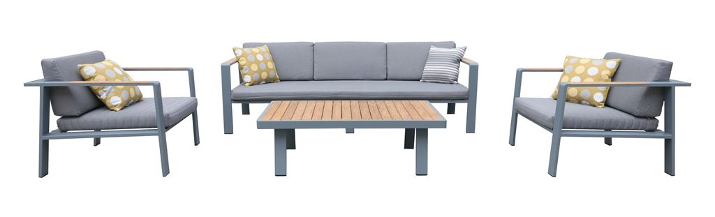 Armen Living Nofi Outdoor Patio Set Charcoal Finish Gray Cushions Teak Wood