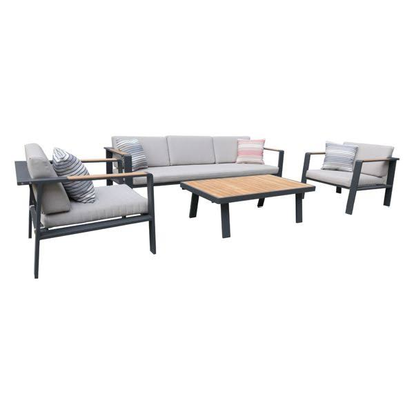 Armen Living Nofi Outdoor Patio Set Gray Finish Taupe Cushions Teak Wood