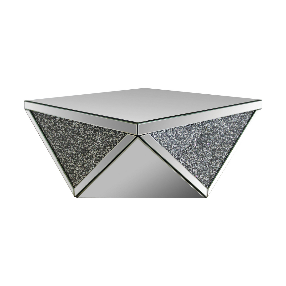 Acme Noralie Coffee Table Mirrored Faux Diamonds