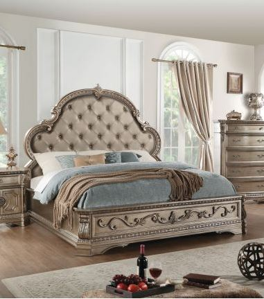 Acme Eastern King Bed Pu Antique Champagne