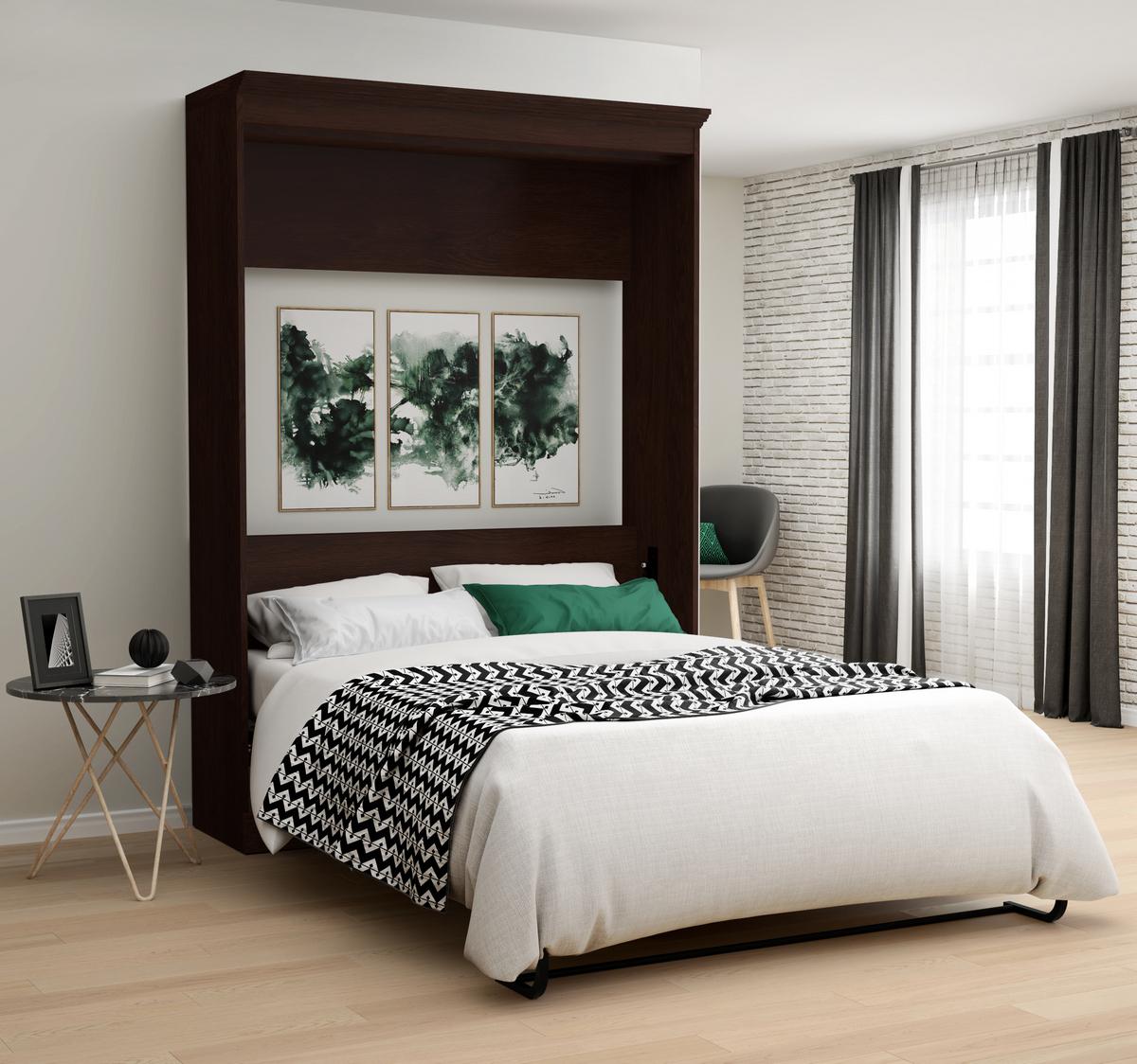 Bestar Novello Veneer Full Wall Bed Espresso Brown