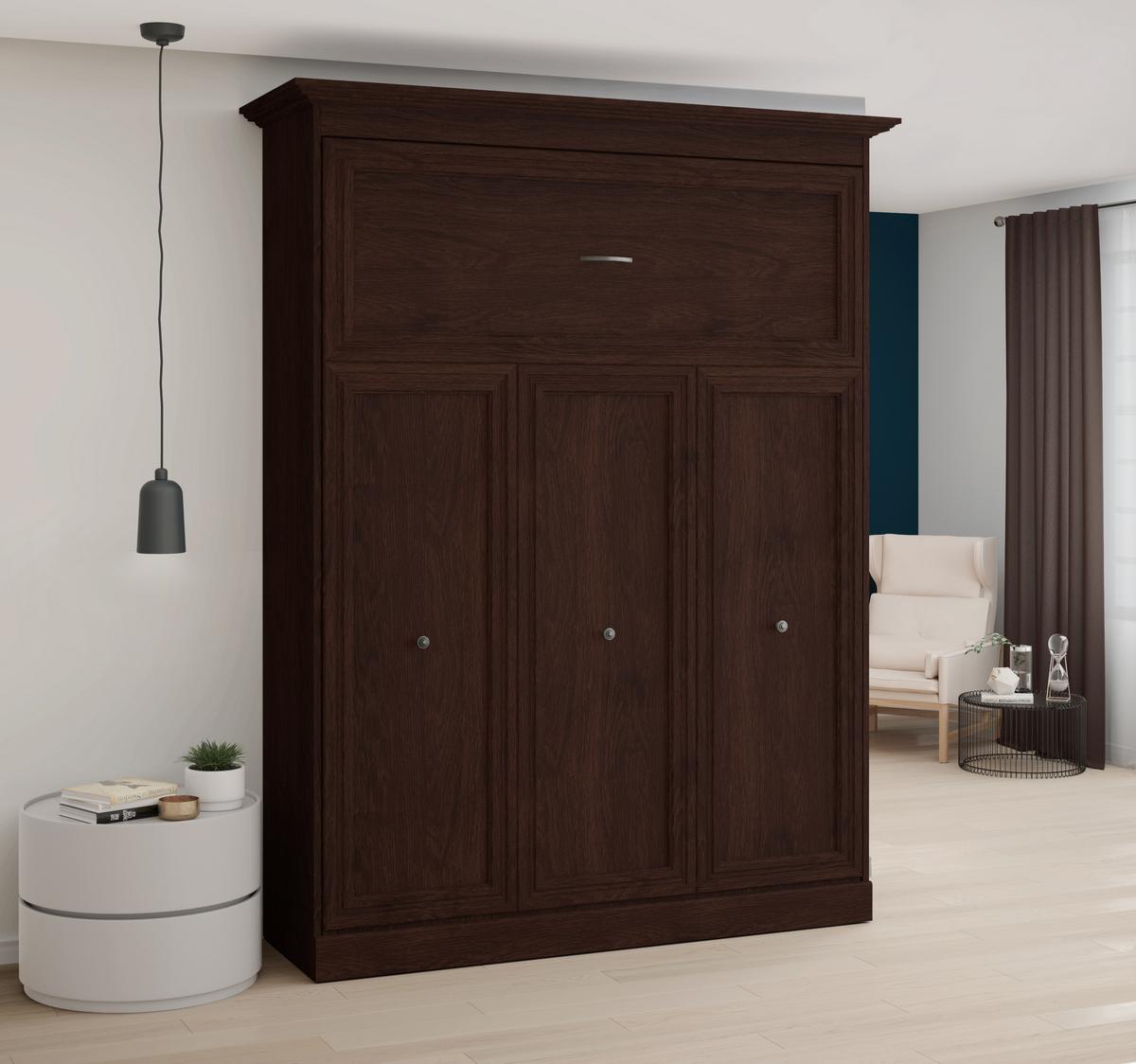 Bestar Novello Veneer Queen Wall Bed Espresso Brown