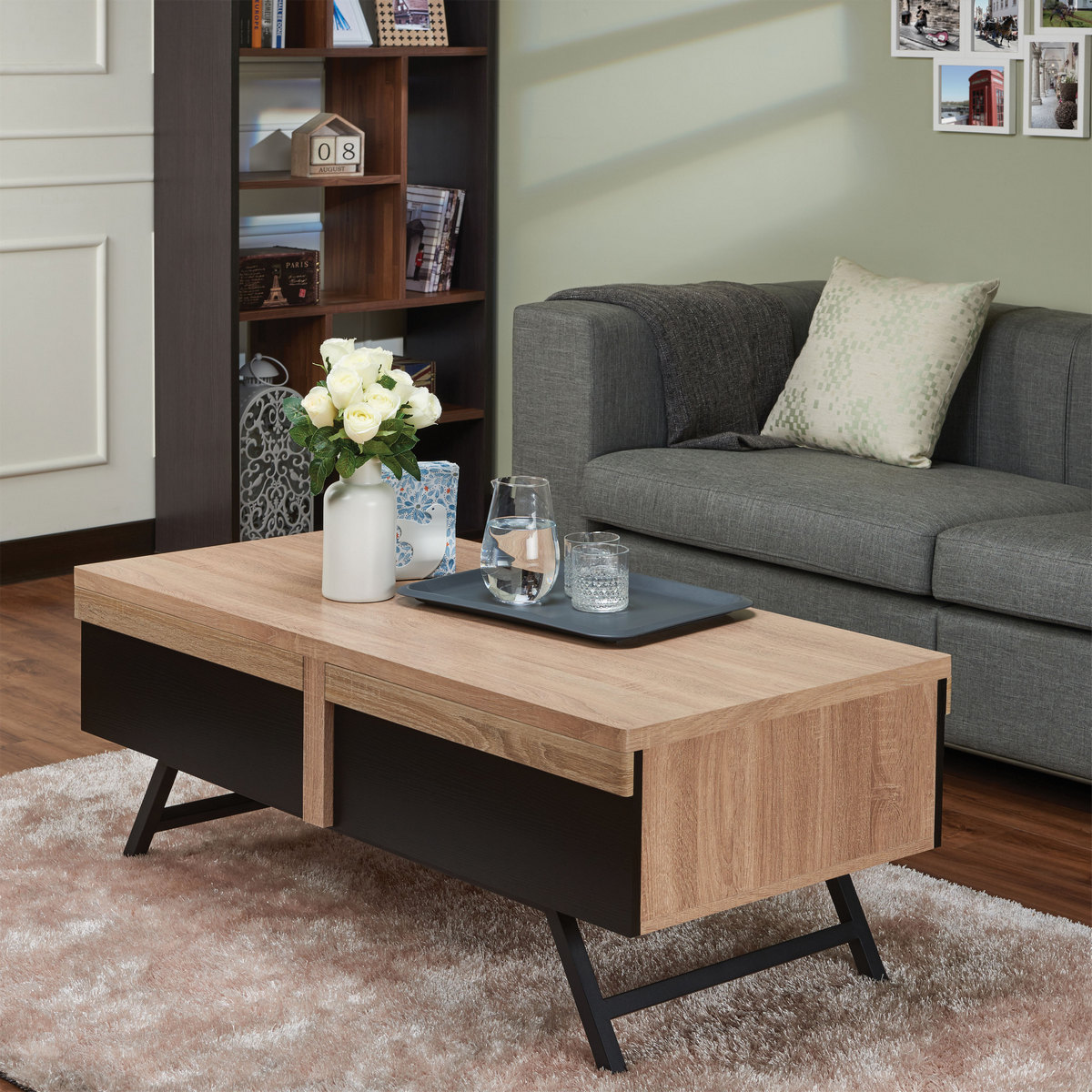 Furniture | Natural | Coffee | Table | Black