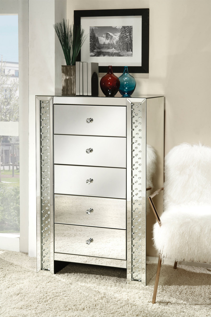 Acme Nysa Cabinet Drawers Mirrored Faux Crystals
