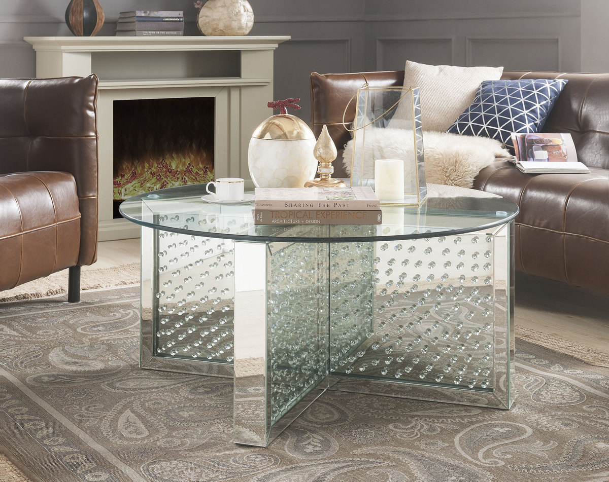 Acme Nysa Coffee Table Mirrored Faux Crystals