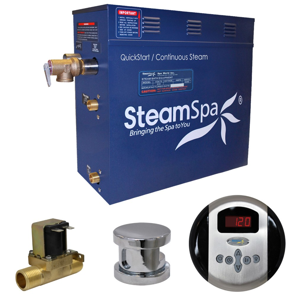 Steamspa Steam Bath Generator Package Built Auto Drain Polished Chrome