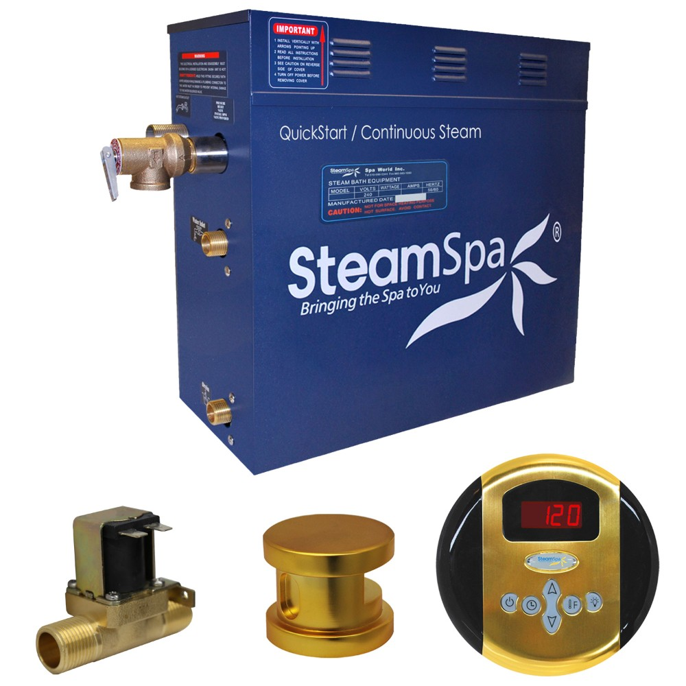 Steamspa Steam Bath Generator Package Built Auto Drain Polished Gold