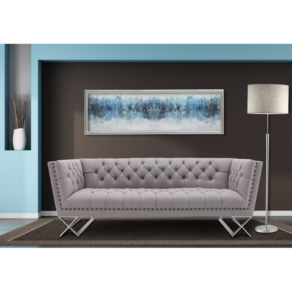 Armen Living Odyssey Sofa Brushed Stainless Steel Finish Grey Tweed