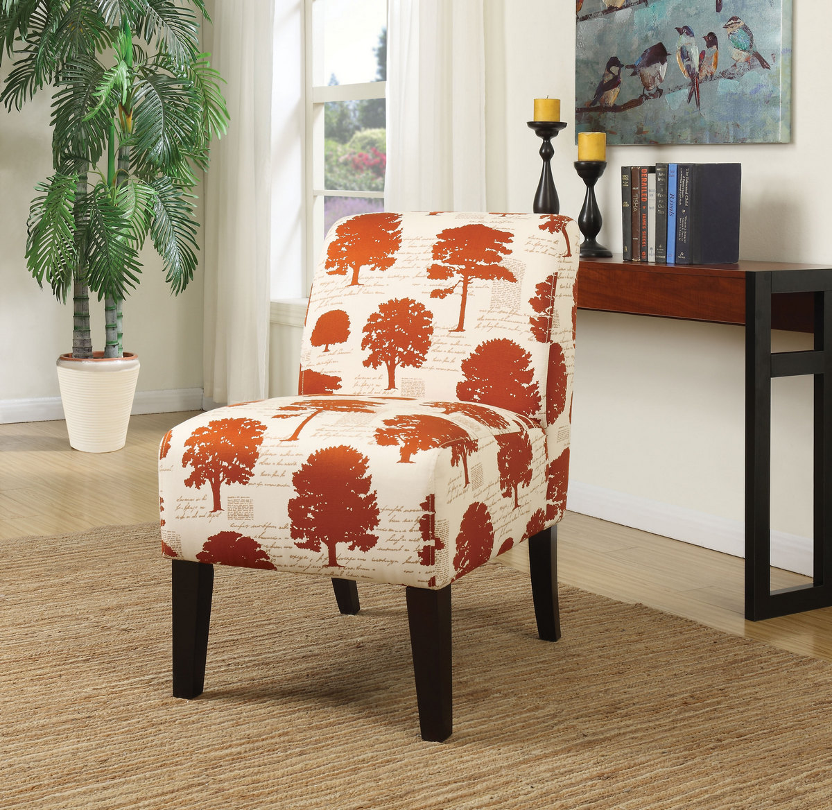Awe Inspiring Ollano Accent Chair In Tree Fabric Acme Furniture 59505 Bralicious Painted Fabric Chair Ideas Braliciousco
