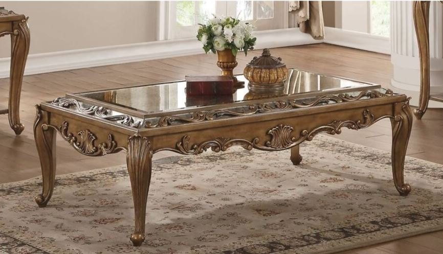 Acme Coffee Table Mirrored Antique Gold