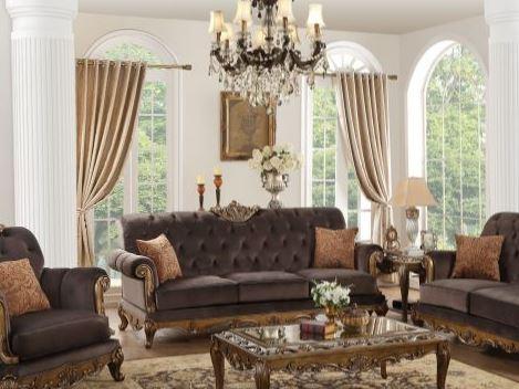 Acme Sofa Pillows Charcoal Fabric Antique Gold