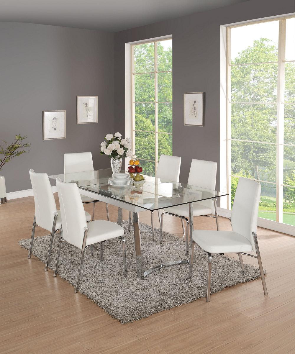 Acme Osias Dining Table Chrome Clear Glass