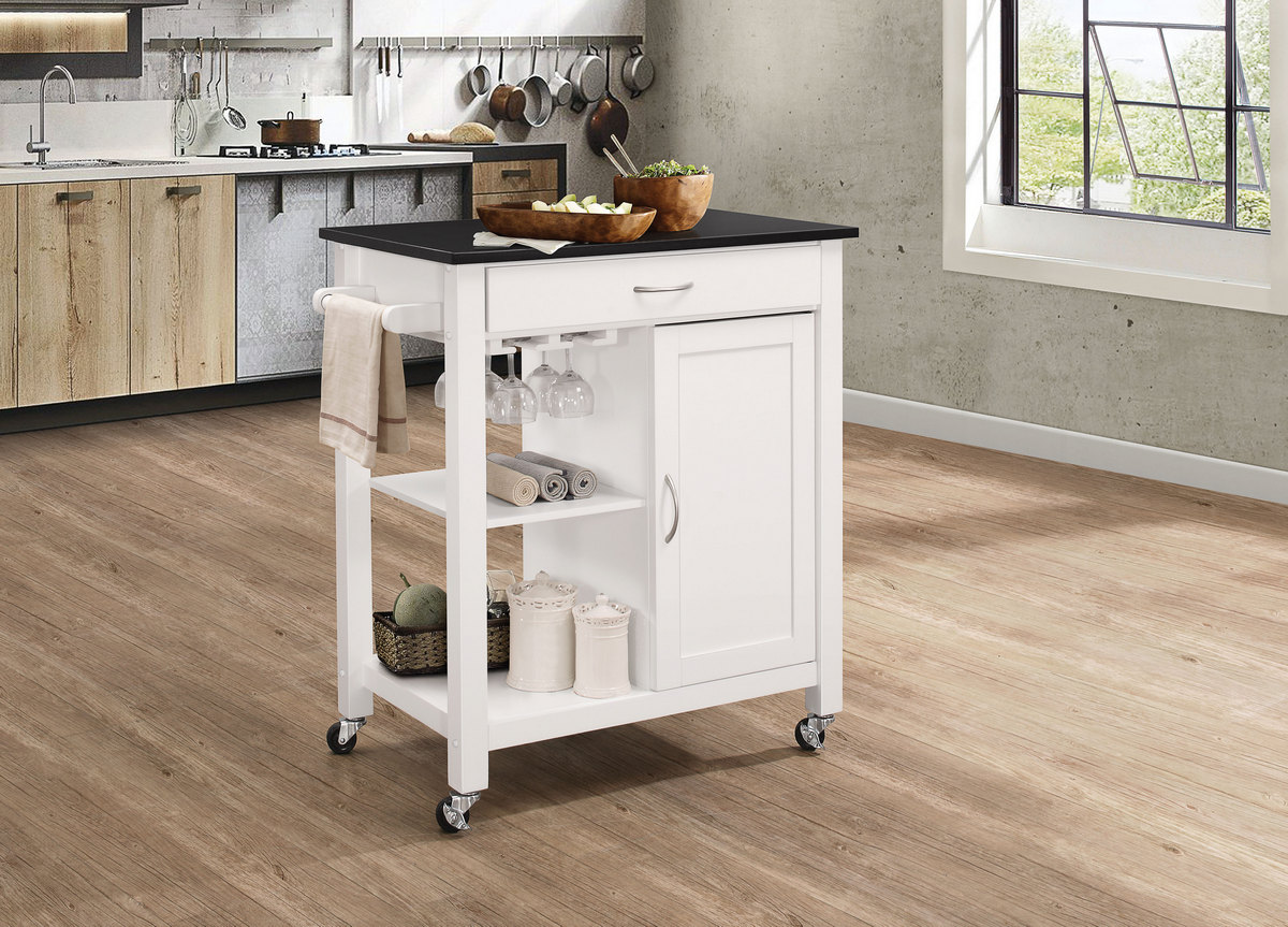 Picture of: Ottawa Kitchen Cart In Black White Acme Furniture 98320