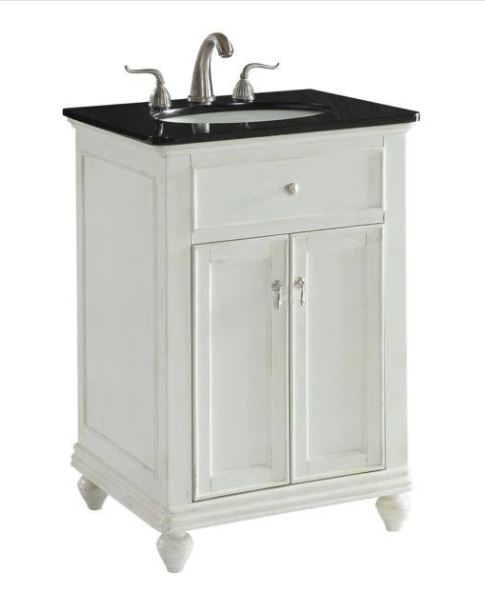 Elegant Lighting Otto Single Bathroom Vanity Set Antique White