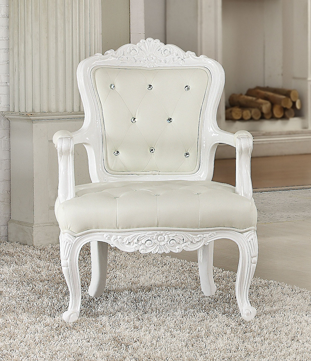 Acme Pascal Accent Chair White Frame Pu
