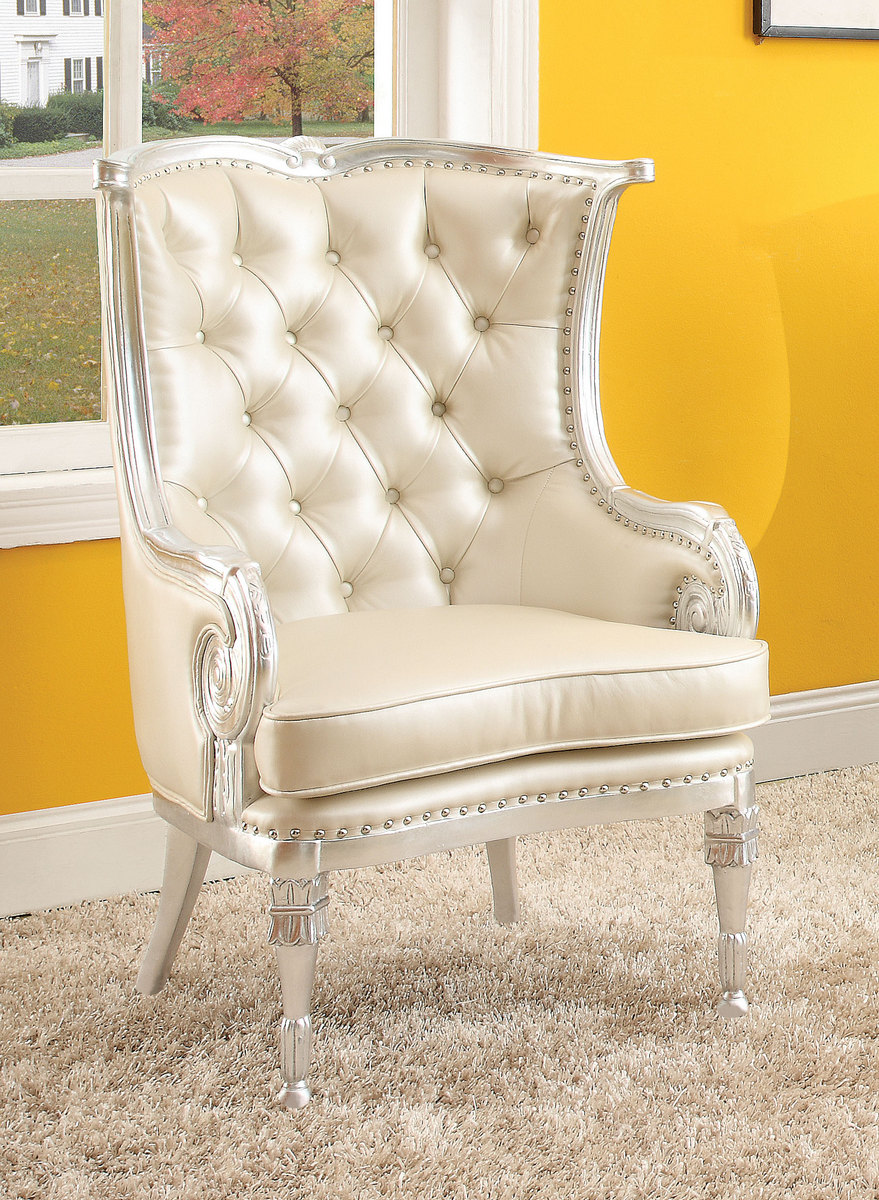 Acme Pawnee Accent Chair Silver Frame Beige Pu