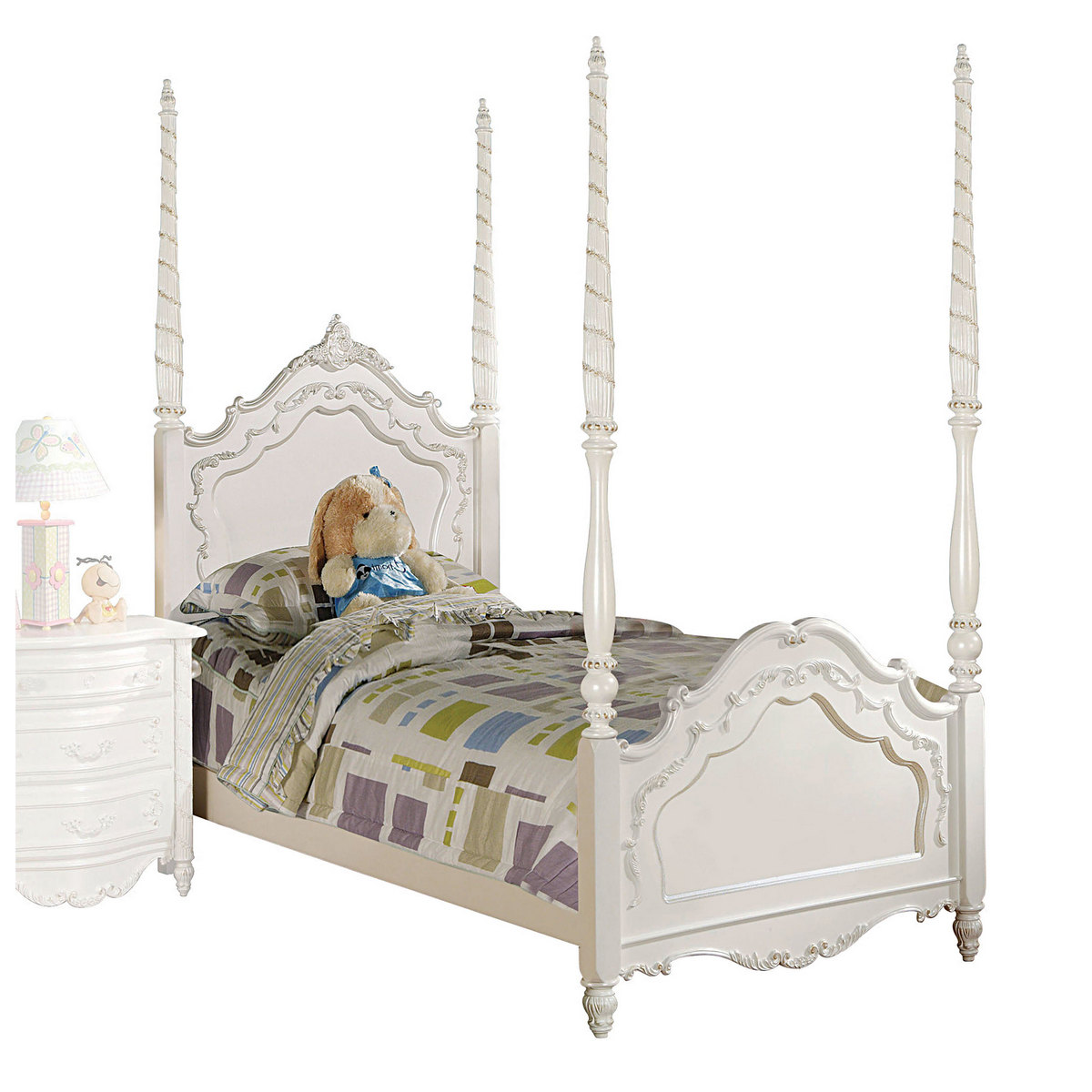 Acme Pearl Twin Bed Poster Pearl White Gold Brush Accent