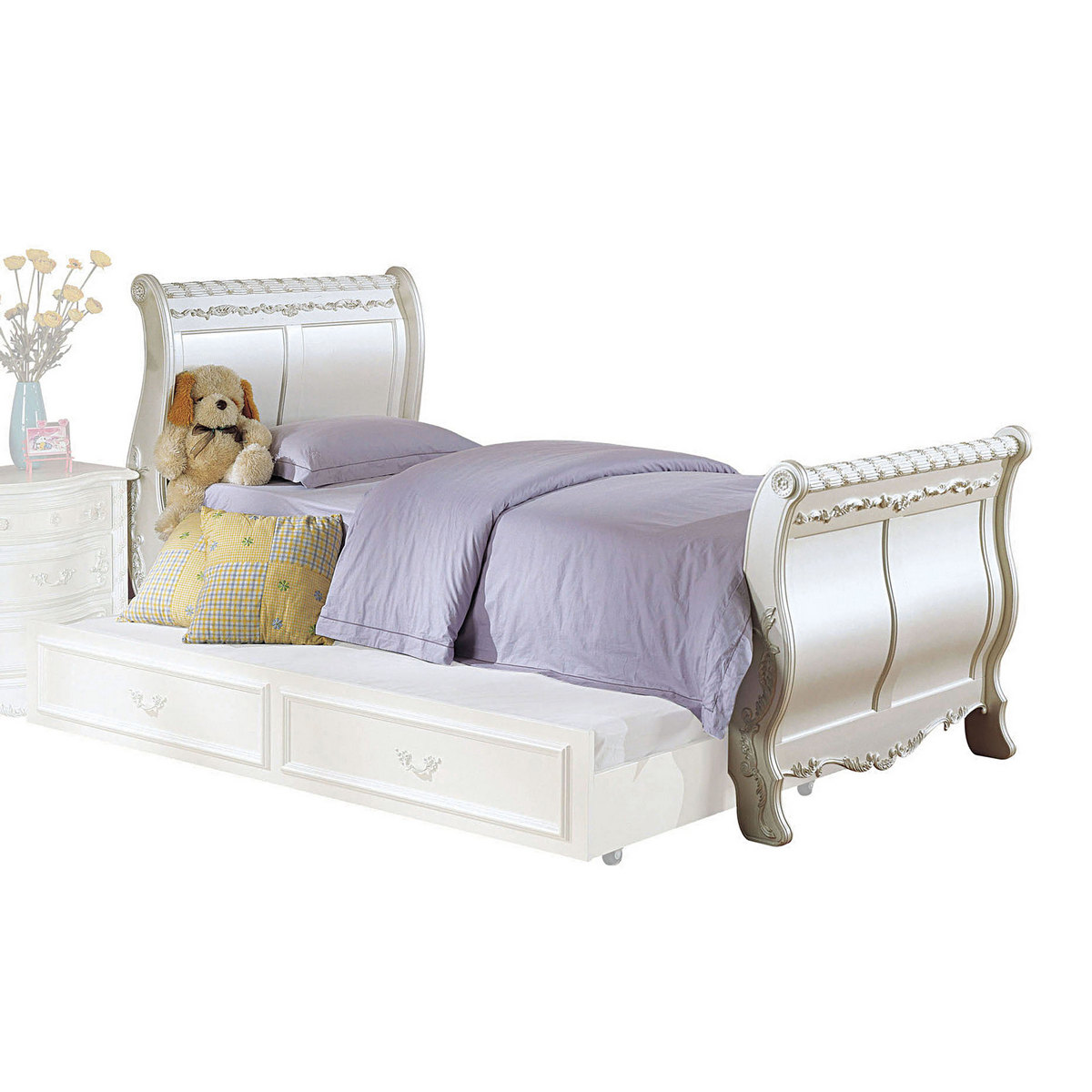 Acme Pearl Twin Bed Sleigh Pearl White Gold Brush Accent