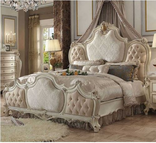 Acme Eastern King Bed Fabric Antique Pearl