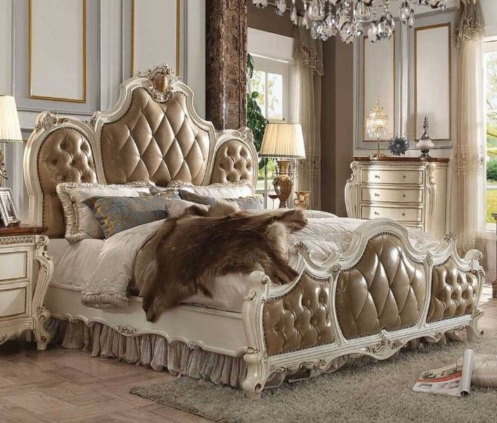 Acme Eastern King Bed Pu Antique Pearl