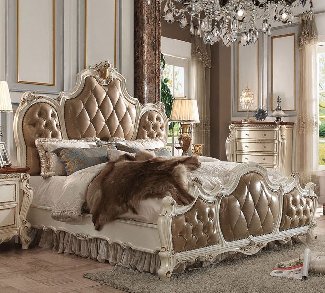 Acme Queen Bed Pu Antique Pearl