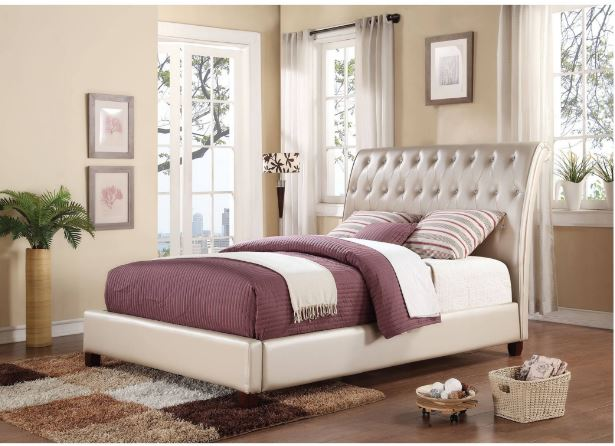 Acme Pitney Eastern King Bed Pearl Pu