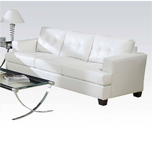 Acme Sofa White Bonded Leather