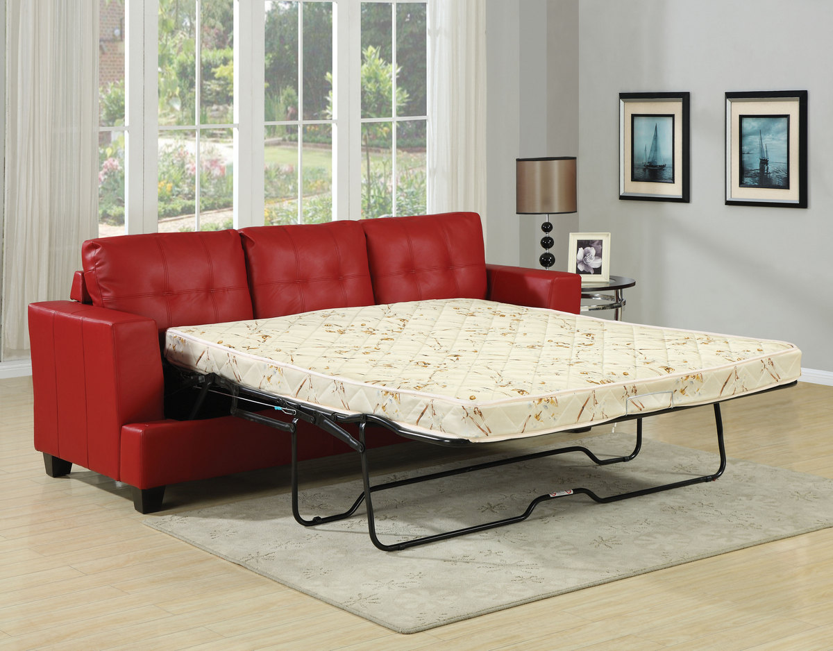 Acme Sofa Queen Sleeper Red Bonded Leather