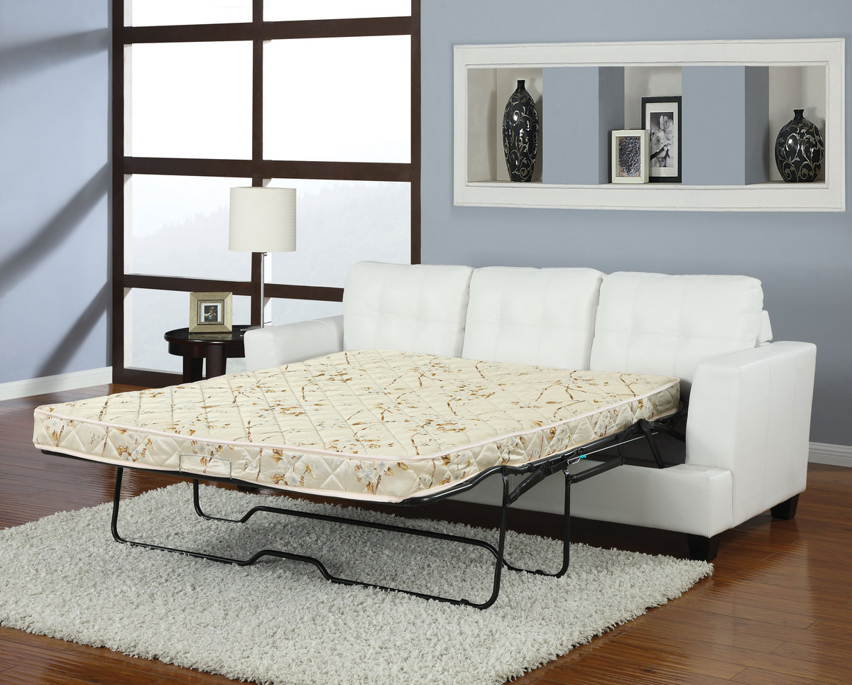 Acme Sofa Queen Sleeper White Bonded Leather