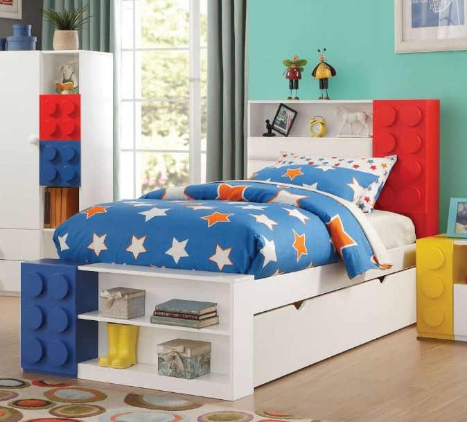 Acme Playground Twin Bed Storage White Multi Color