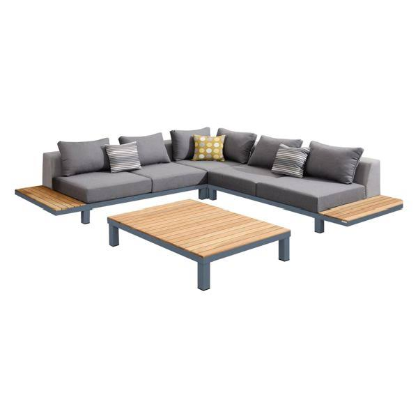 Armen Living Polo Outdoor Sectional Set Dark Cushions Accent Pillows