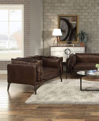 Acme Porchester Chair Distress Chocolate Grain Leather