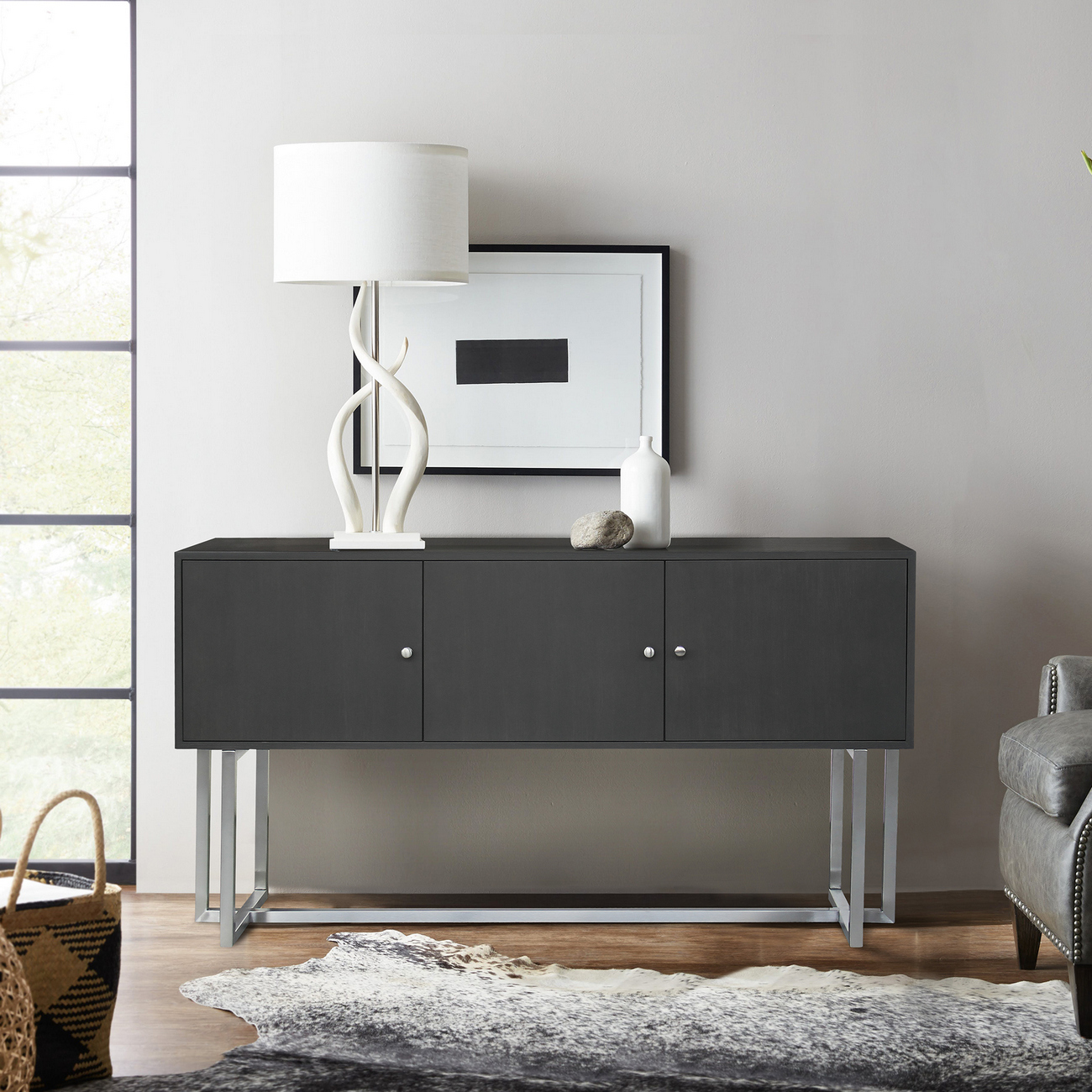 Armen Living Prague Contemporary Buffet Brushed Stainless Steel