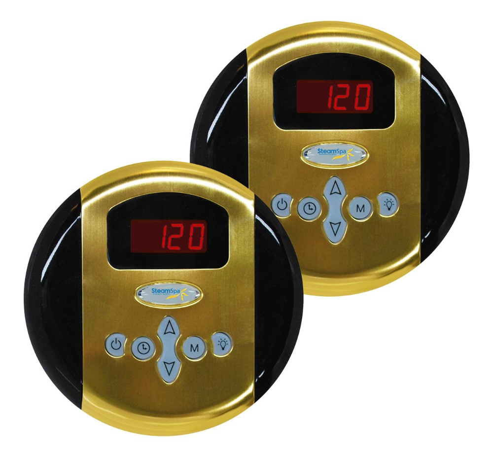 Steamspa Programmable Dual Control Panels Polished Gold