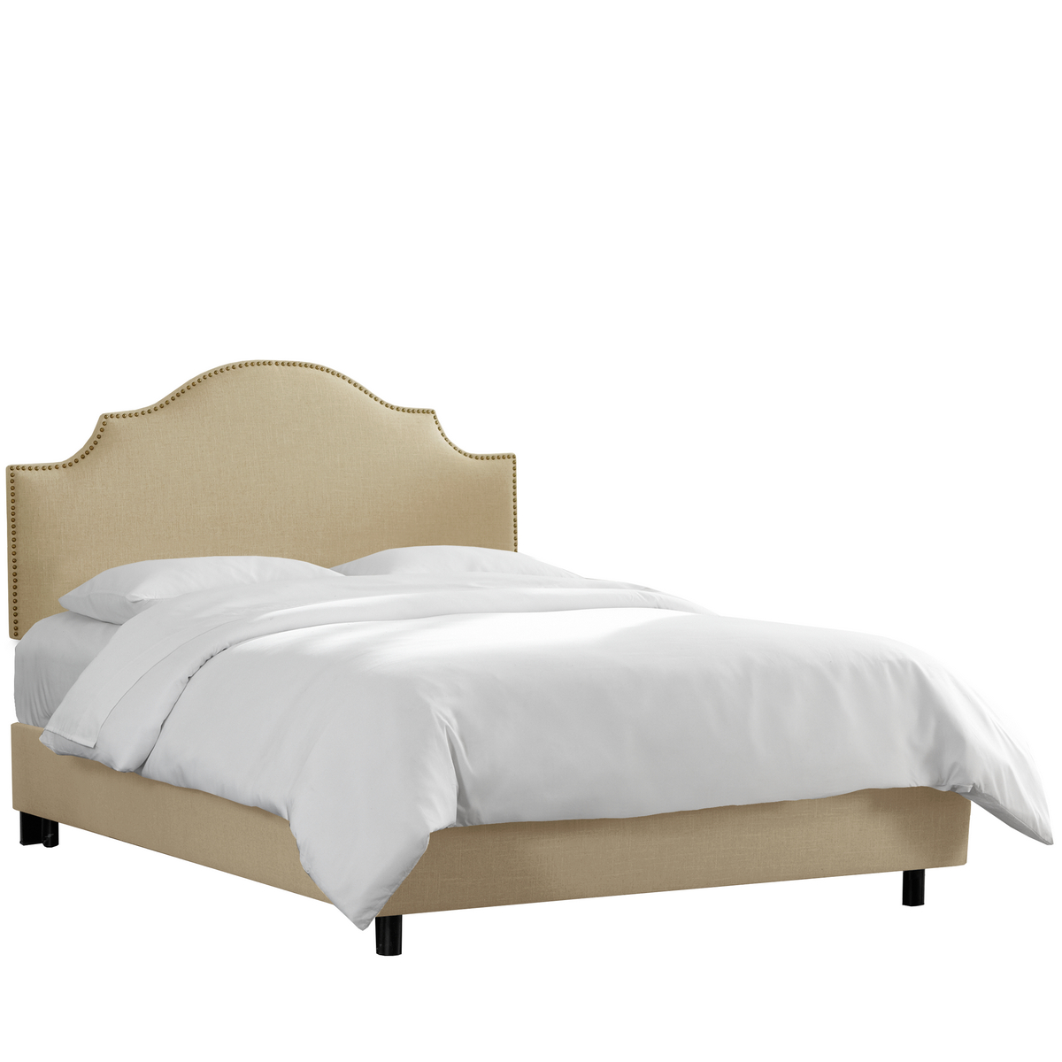 Skyline Queen Nail Button Notched Bed Linen Sandstone