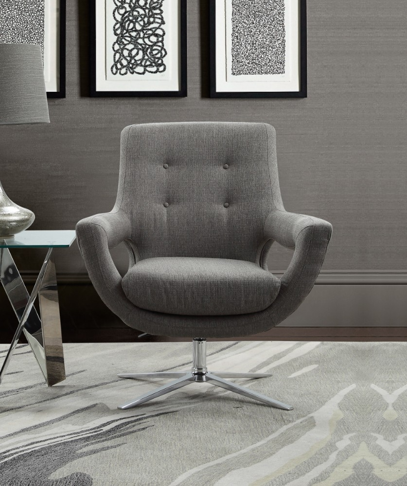 Armen Living Quinn Contemporary Adjustable Swivel Accent Chair Polished