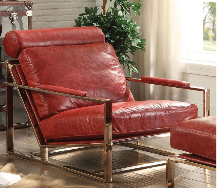 Acme Quinto Accent Chair Antique Red Tg Leather Stainless Steel