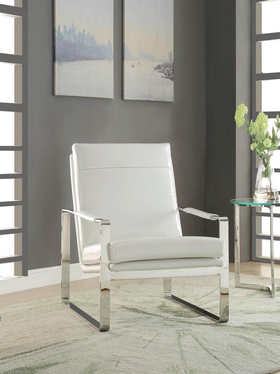 Awe Inspiring Rafael Accent Chair In White Pu Stainless Steel Acme Inzonedesignstudio Interior Chair Design Inzonedesignstudiocom