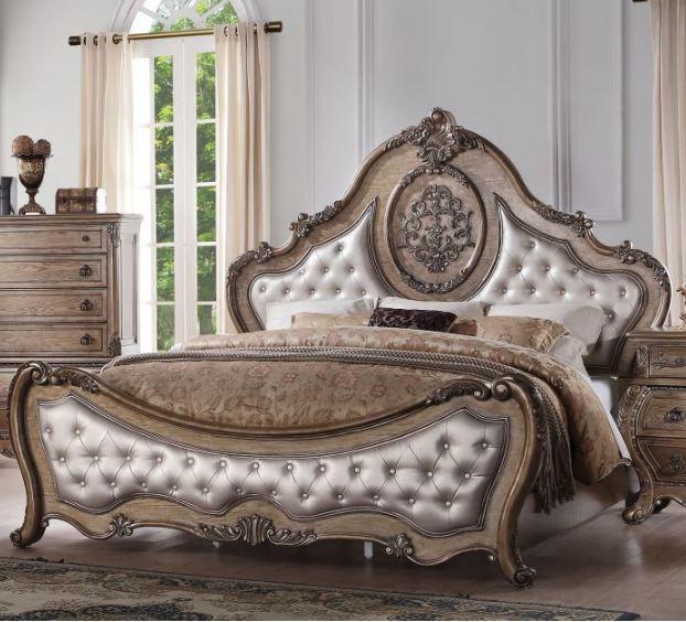 Acme Eastern King Bed Pu Vintage Oak
