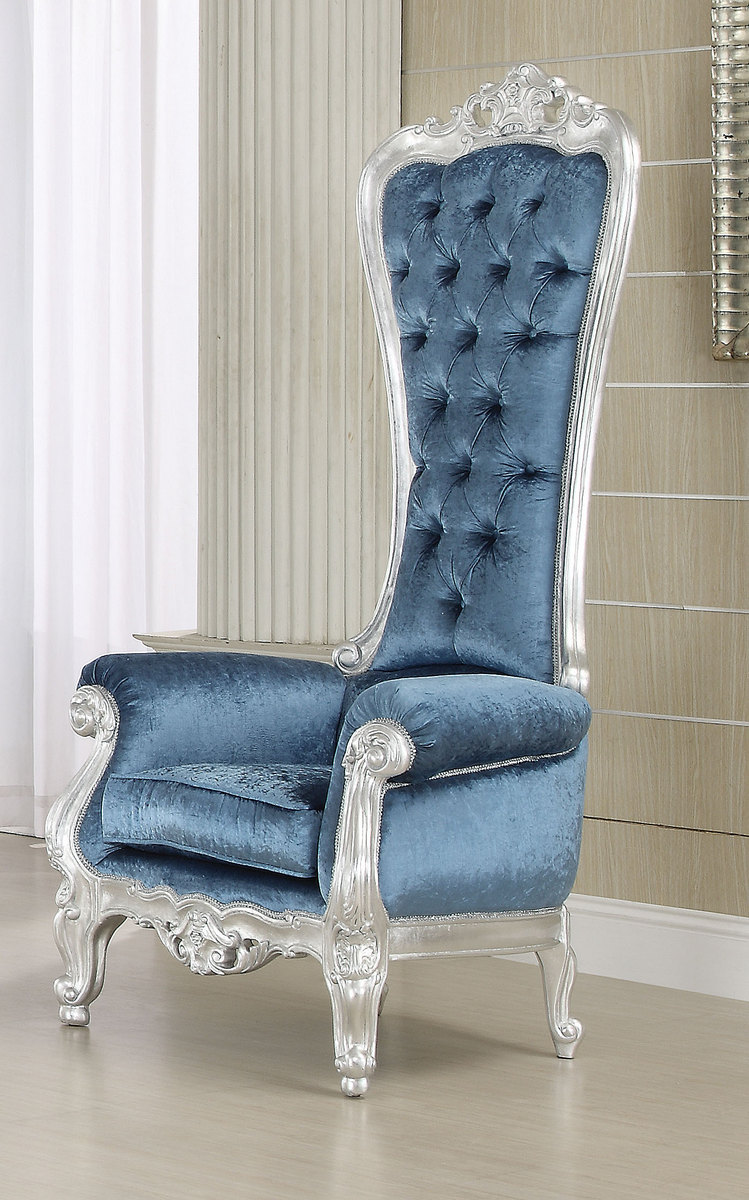 Acme Raven Accent Chair Silver Frame Blue Fabric