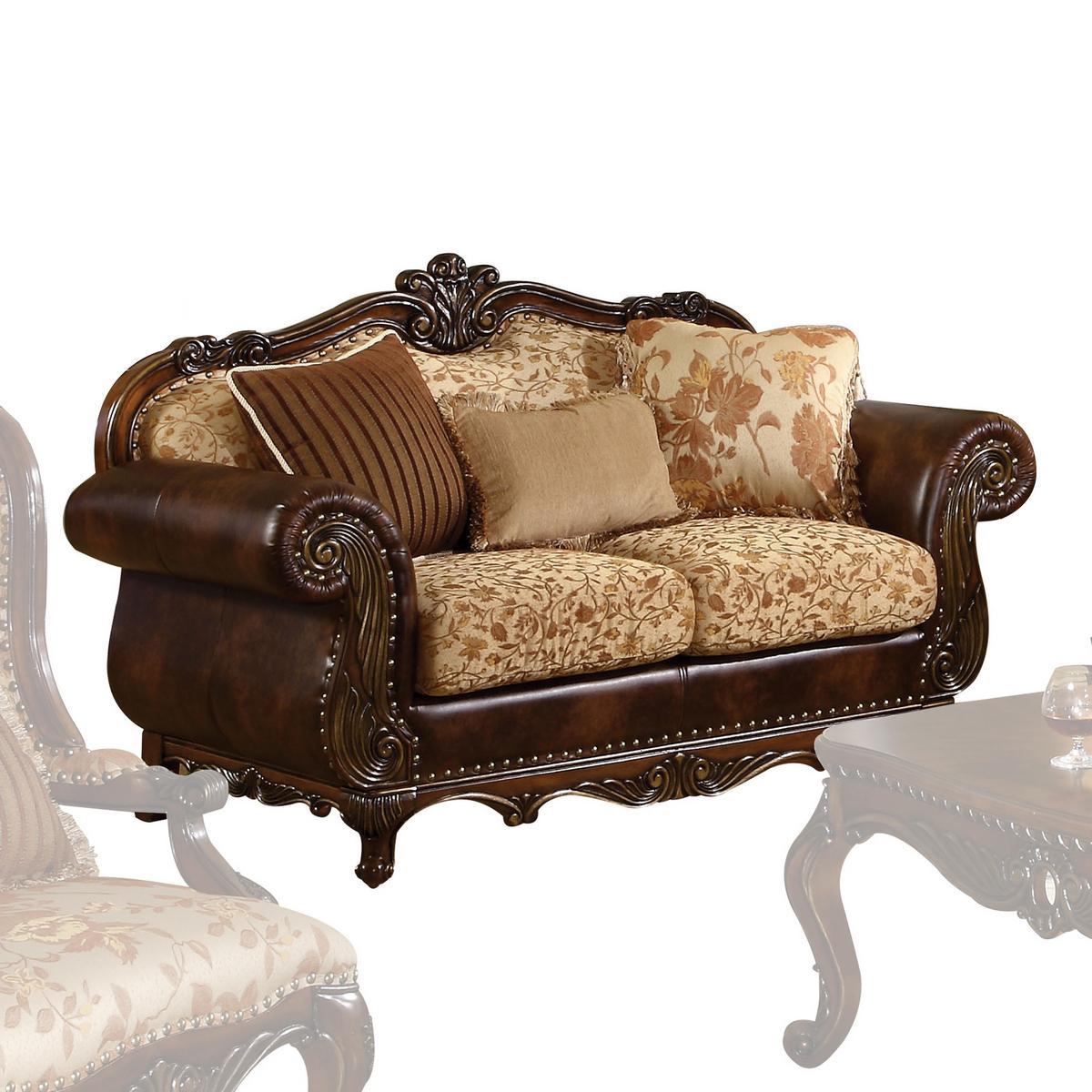 Acme Remington Loveseat Pillows Bonded Leather Fabric Cherry